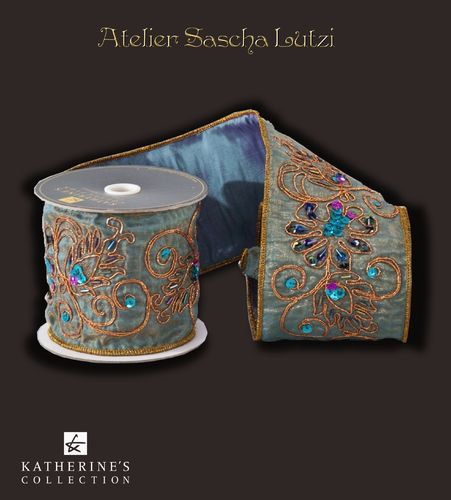 Bohemian Antique Turquoise Scroll Ribbon