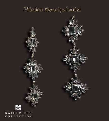 Strass Anhänger Baguette Flower Dangle